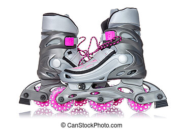 Roller skates - Pair of roller skates isolated on white...