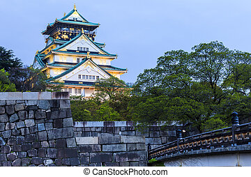 Osaka Castle at night in Japan