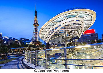 Nagoya, Cityscape, noturna, Japão
