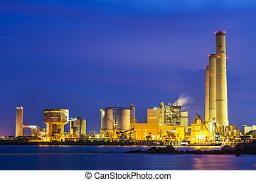 Industrial power plant at night