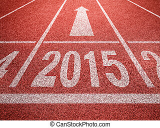 New year 2015 diggits on sport track with arrow. Good start,...