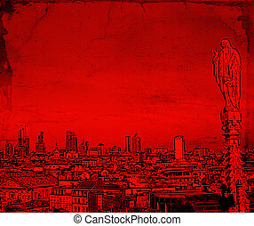 Illustration of a Milan Cityscape in red