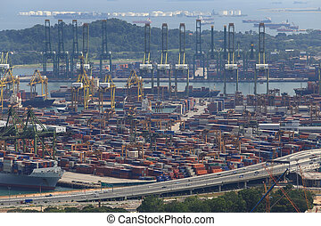 Landscape from bird view of Cargo ships entering one of the...