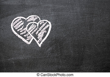 double hearts - double red hearts background chalk drawing...