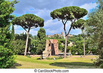 Rome, Palatine - Italy. Palatine, one of the most beautiful...