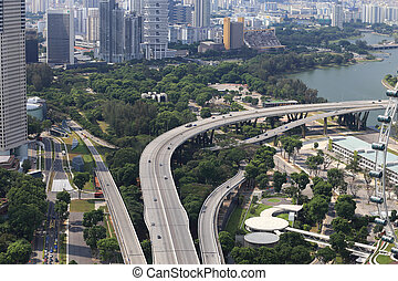 Birds eye view of Singapore