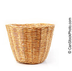 Rattan basket over white background - Rattan basket isolated...