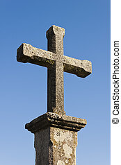 Stone cross vertical - Stone cross in a column with clear...