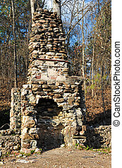 Old Stone Fireplace - Stone Chimney Still Standing after...