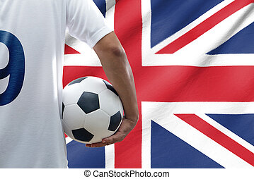 Soccer player with united kingdom flag