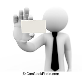 3d business person showing blank card - 3d rendering of...