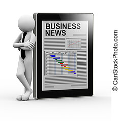 3d businessman with newspaper on tablet - 3d rendering of...