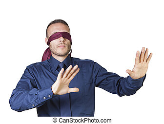 businessman in blindfold - young businessman in blindfold...