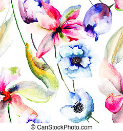 Seamless wallpaper with stylized flowers, Watercolor...