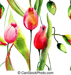 Watercolor illustration of Tulips flowers, seamless pattern