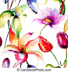 Watercolor painting of Tulips and Lily flowers, seamless...
