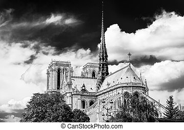 Notre Dame in Paris black and white