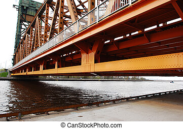 Part of lift bridge. - A part of the steel construction of...