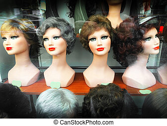 Featured wigs in a shop