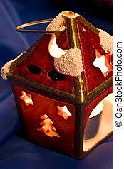 Christmas ligh - holiday series: Christmas ligh over blue...