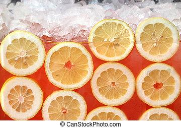 Fresh Lemonade - Fresh lemons floating in pink lemonade
