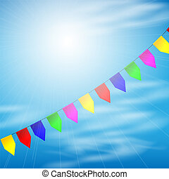 Color party flags on sky background