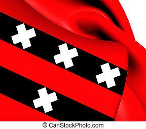 Flag of Amstelveen, Netherlands. Close Up.
