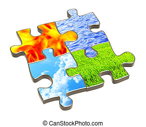 Puzzle with four elements of nature