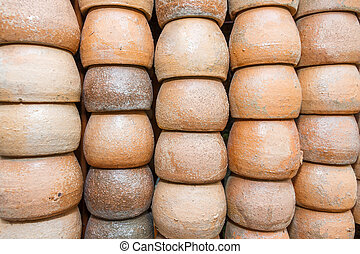 Flowerpots - The row from many flowerpots of clay