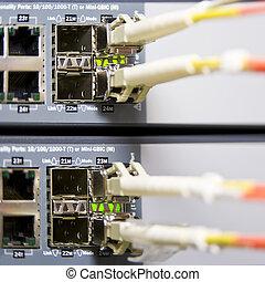 Fiber optics connectors on an internet server