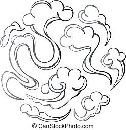 Contemporary cloud illustration in Black and white