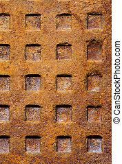 Old rusty sewer manhole texture - Old dirty rusty sewer...