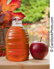 Honey jar and red apple - Apple and jar of honey, concept...