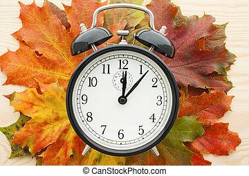 Retro alarm clock on autumn leaves. Time change concept.