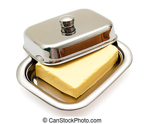Butter on silver butter dish isolated