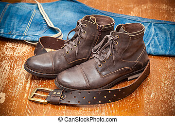 leather shoes, leather shoes, belt
