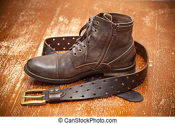 Fashionable leather shoes and belt