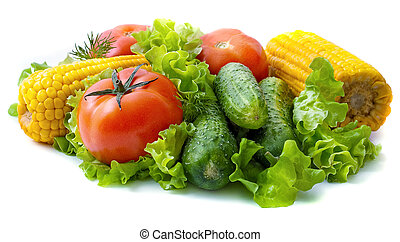 Healthy food on light background: tomatoes, cucumbers, corn...