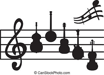 Musical instrument notes - Musical instrument silhouettes on...