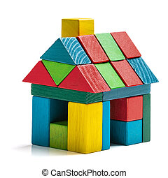 house toy blocks isolated white background, little wooden...
