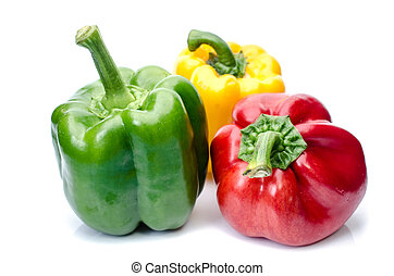 bell pepper or capsicum isolated on white - red green yellow...