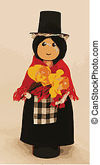 Welsh Cloths Pin Doll - A welsh cloths pin doll in...