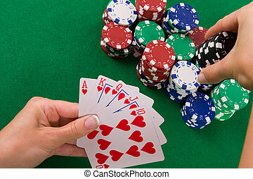 Cards with poker arrangement
