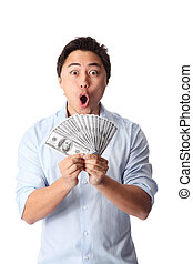 YES I WON! - Attractive man wearing a shirt, holding a fan...