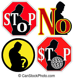 Stop Overweight - Set of signs rising the question of...