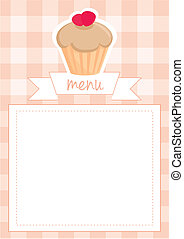 Vector strawberry cupcake card - Vector sweet toffee and...