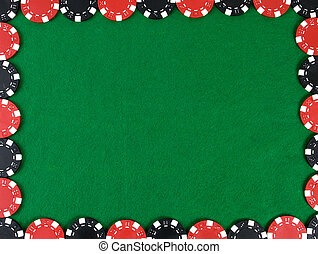 Frame with poker chips - Frame with red and black poker...
