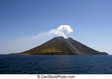 Stromboli island - Island of Stromboli with smoke issuing...