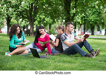 Four university students comparing their notes