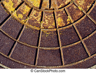 Rusty sewer manhole lid texture - Old dirty rusty sewer...